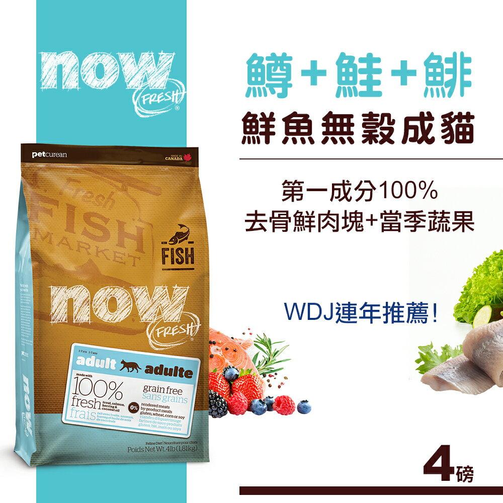 【輸入9J90-0UJO-BMOR-EBYE滿千折百】Now! 鮮魚無穀天然糧 成貓配方(4磅)