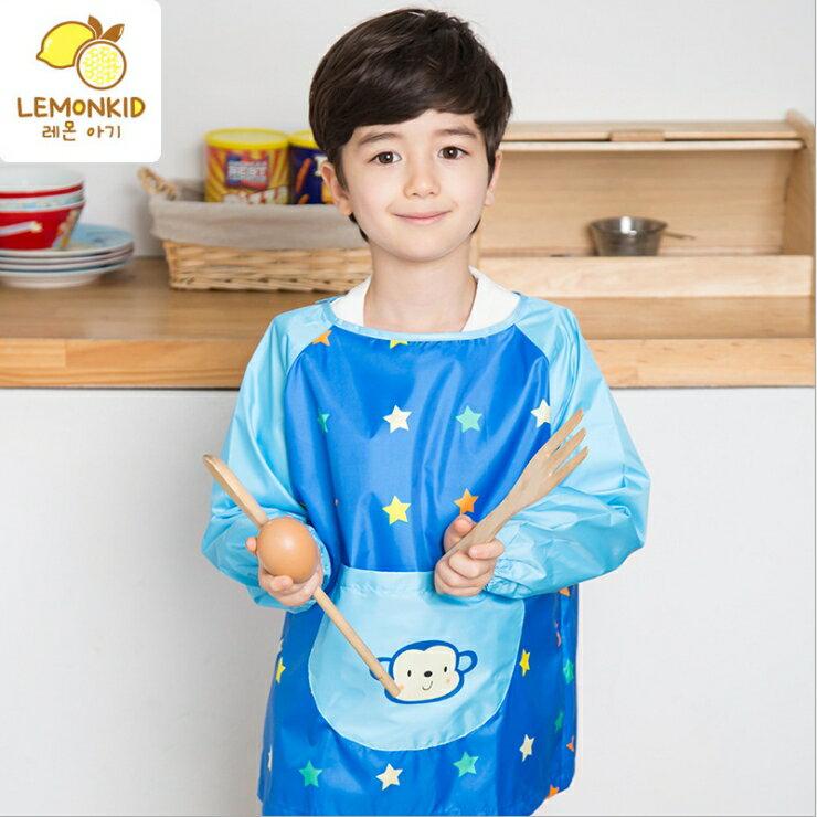 Lemonkid◆可愛小花猴子點點前大口袋防水防髒環保罩衣畫畫衣 - 藍色