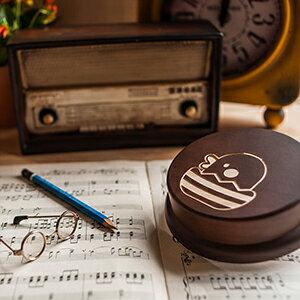 木製 發條式 選轉音樂盒 客製化 禮物-雞蛋布丁