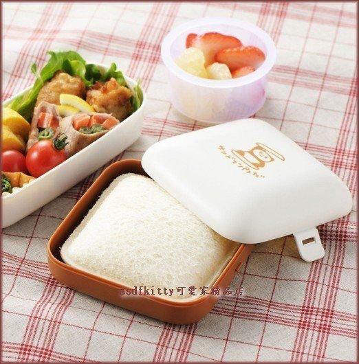 asdfkitty可愛家☆日本AKEBONO熊貓口袋吐司外出盒/保鮮攜帶盒-咖啡色-野餐好用-日本製