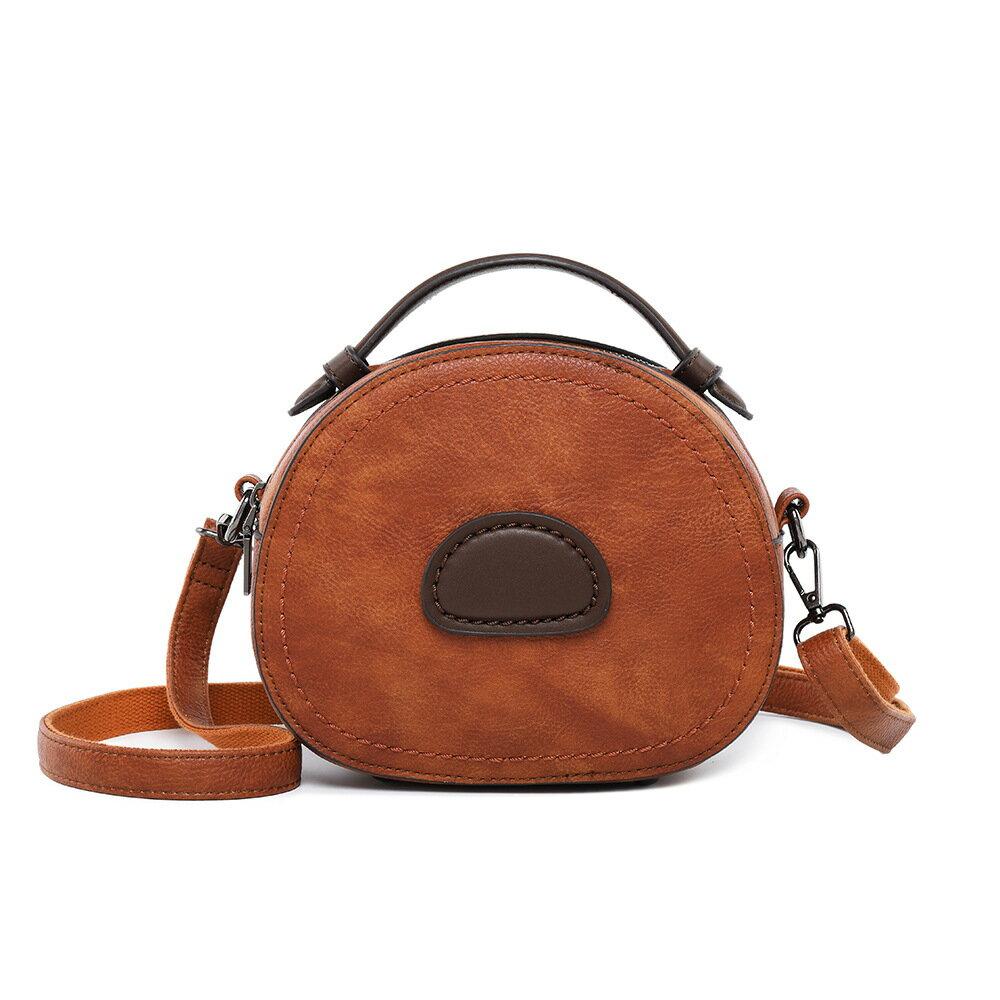 純色女包包新款休閒復古時尚小圓包單肩斜挎手提包真皮女包 【安逸居家】