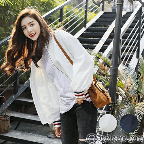 OBIYUAN 奧比原:(女裝)紅黑線條立領外套【FM9026】OBIYUAN韓風立領夾克共2色