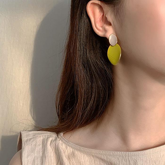 925銀針牛油果耳釘女高級感法式滴釉耳環百搭氣質網紅ins耳飾品1入