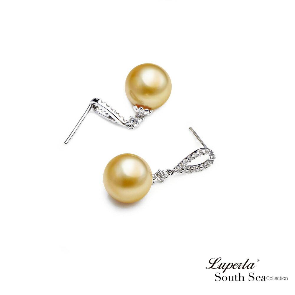 大東山珠寶 繽紛花園 南洋金珠頂級真鑽18K白金耳環 3