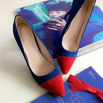 ☆尖頭高跟鞋真皮細跟單鞋 -時尚尖端撞色造型女鞋子2色73iw58【獨家進口】【米蘭精品】