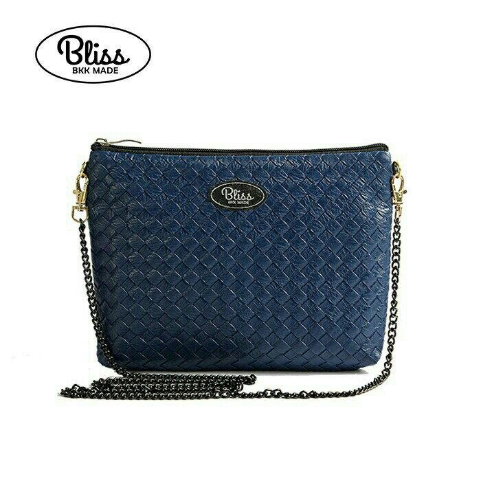 【正版】泰國BLISS BKK包手拿包側背包斜背包-素色編織紋藍  (4款背帶可選) 影片實拍 X RUNWAY FASHION ICON