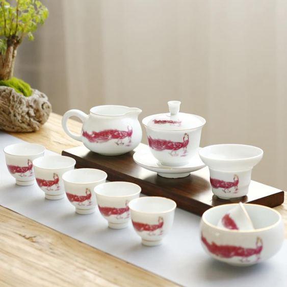 白瓷現代家用功夫茶具套裝手工公道杯陶瓷茶壺簡約日式