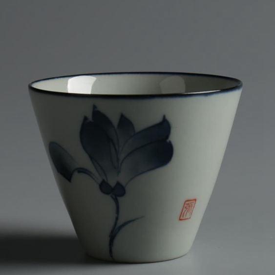 個人單杯陶瓷茶具仿古青花瓷品茗杯小茶碗茶杯日式茶具
