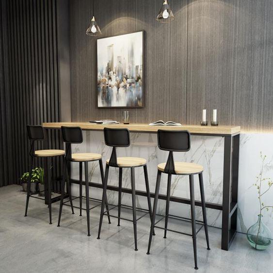 北歐鐵藝實木吧臺桌家用咖啡桌酒吧桌長條桌餐廳高腳桌奶茶店桌椅