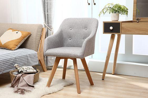 北歐家用沙發書桌椅洽談實木布藝餐椅電腦咖啡休閒椅化妝凳陽臺椅 ATF