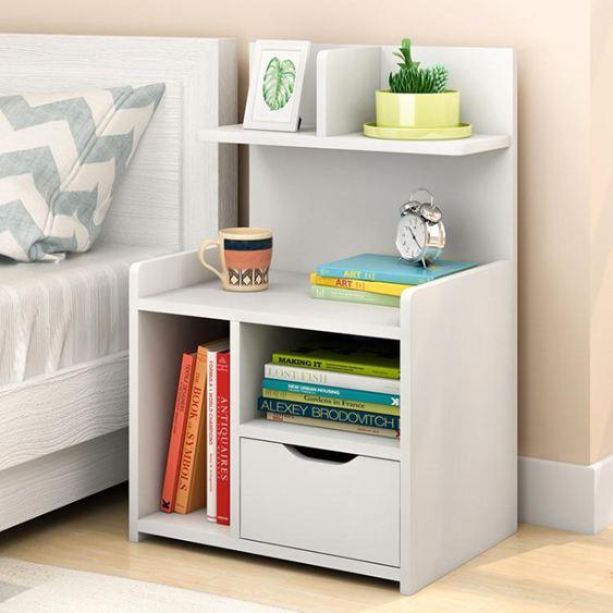 立太床頭櫃現代簡約實木色帶鎖簡易小櫃子迷你收納儲物櫃臥室  ATF