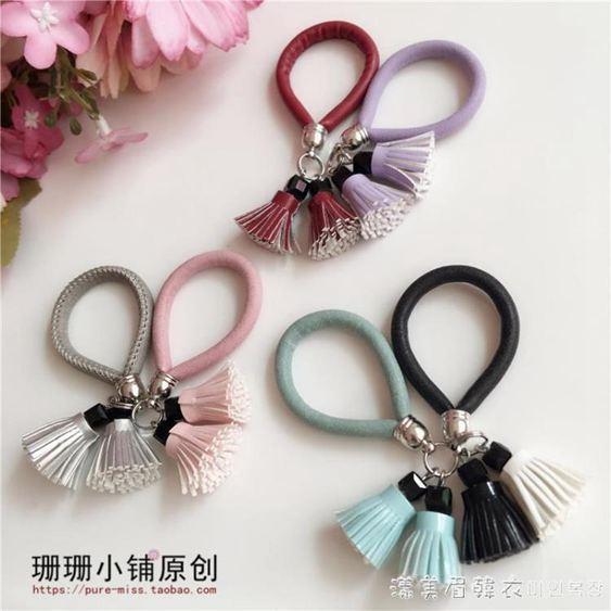 原創設計手機掛繩手腕皮繩短款韓國可愛皮流蘇手機繩掛件女手機鏈