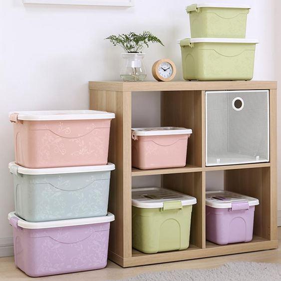 印花手提收納盒衣物玩具儲物盒加厚塑料收納箱子特大號三件套HM