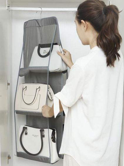 透明放包包的收納袋 家用墻掛式掛袋神器 臥室整理柜衣柜置物架子