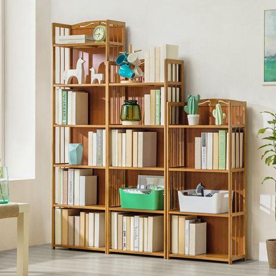 木馬人簡易書架收納置物架簡約 實木多層落地兒童桌上學生書櫃ATF