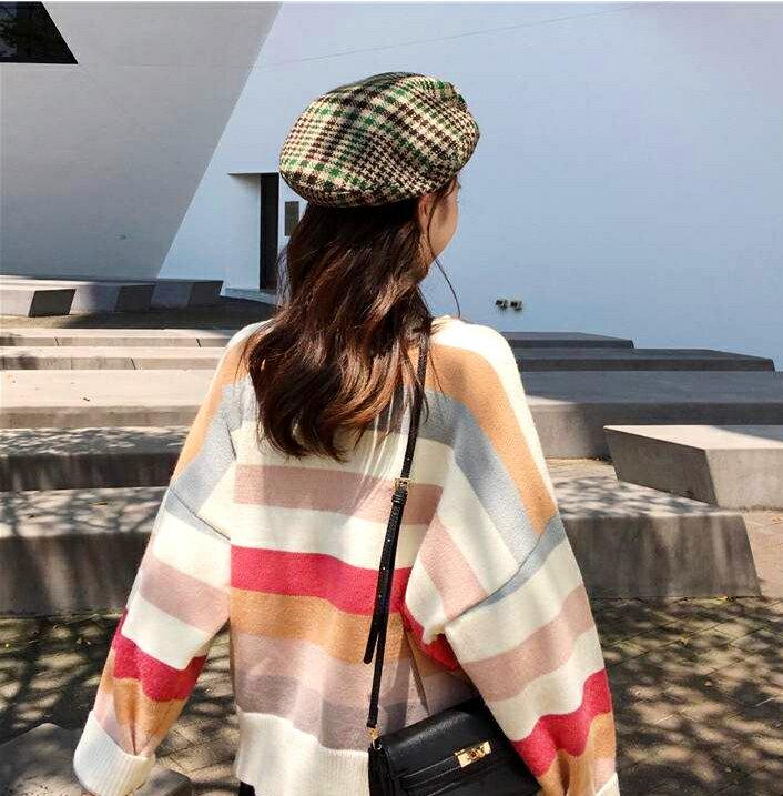 甜美主題.彩虹條圓領針織長袖上衣- shiny藍格子【V3032】 2