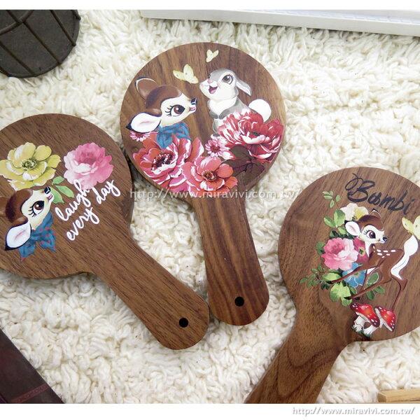 【Disney】時尚質感原木木頭手拿鏡-斑比系列