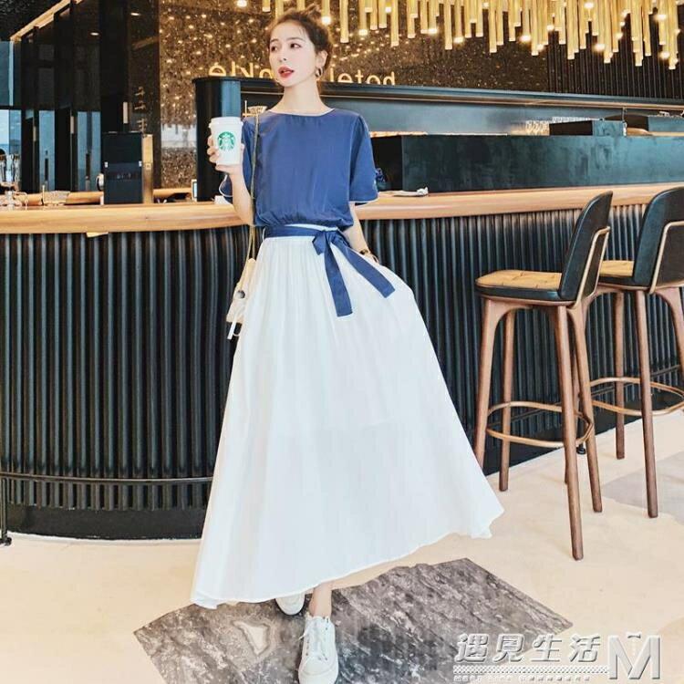 假兩件洋裝夏季新款中長款網紅氣質顯瘦桔梗長裙 麥田印象