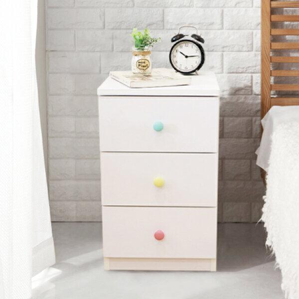 收納櫃 置物櫃 邊櫃 床頭櫃 馬卡龍系列日系床頭櫃(三抽屜-大款) (附插座) 天空樹生活館 0