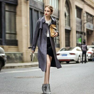 ☆休閒夾克大衣外套-純色綁帶麂皮風衣女裝73hu14【獨家進口】【米蘭精品】