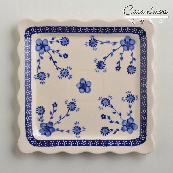 波蘭陶歐式青花系列方形餐盤陶瓷盤菜盤水果盤沙拉盤24cm波蘭手工製