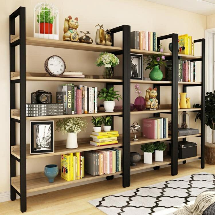 書架 落地簡約現代鋼木置物架多層鐵藝客廳書柜架子組合貨架儲物架【快速出货】