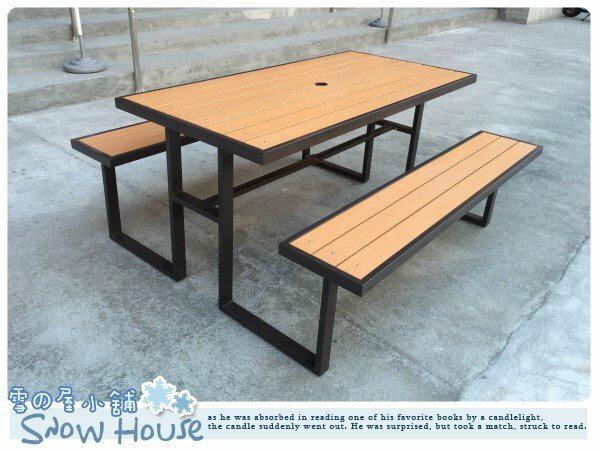 ╭☆雪之屋小舖☆╯S43A12 塑木野餐桌椅組(有傘孔)@戶外休閒桌椅DIY/啤酒桌椅/公園桌~原價11500