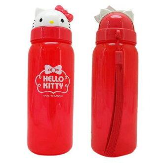 【真愛日本】13070300001 立體頭型水壺500ML-紅結 三麗鷗 Hello Kitty 凱蒂貓 隨手壺 冷水壺
