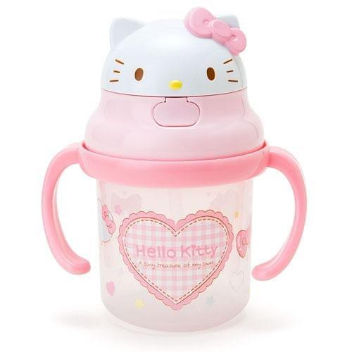 日本代購預購 三麗鷗Hello Kitty 雙耳水杯練習杯吸管杯 230ml 723-202