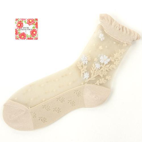 製襪子透明蕾絲襪子小花紋透明襪刺繡短襪三雙入 140~141 21