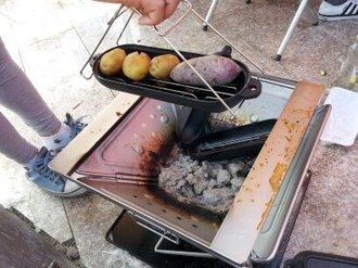 【露營趣】中和 燒烤鑄鐵鍋 烤盅 烤地瓜馬鈴薯玉米 可搭焚火台 雙口爐 tnr-016