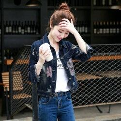 ★牛仔外套短版夾克-唯美優雅花朵造型女外套73iu143【獨家進口】【米蘭精品】