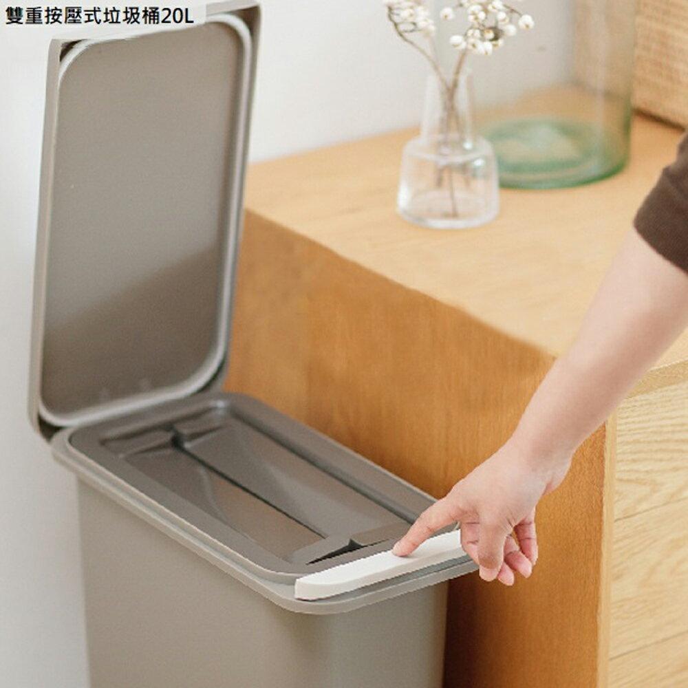 日本 RISU 雙重防臭按壓式垃圾桶20L(棕色)