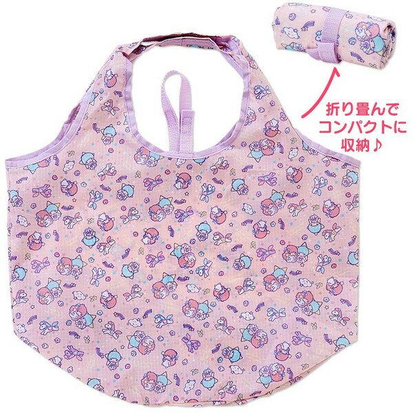 【真愛日本】16042700009環保購物袋-TS滿版星星粉   三麗鷗家族 Kikilala 雙子星  側背包 包包 購物袋