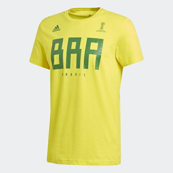ADIDAS男裝短袖休閒舒適巴西世足賽世界盃黃綠【運動世界】CW1986