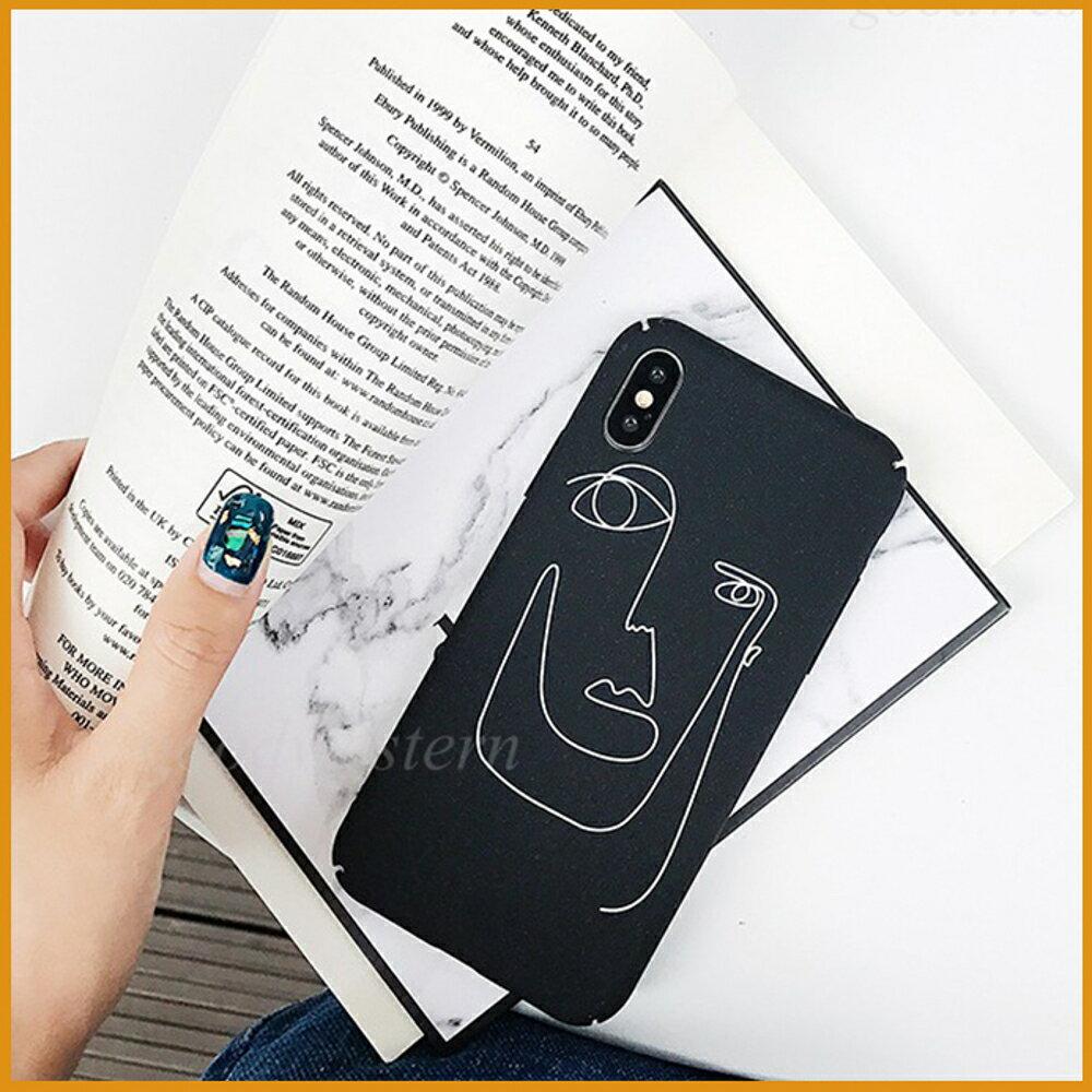 素描人臉手機殼 小米A2 小米8 小米8 lite 小米9 手繪風格 磨砂全包邊硬殼 防摔硬殼 防刮保護