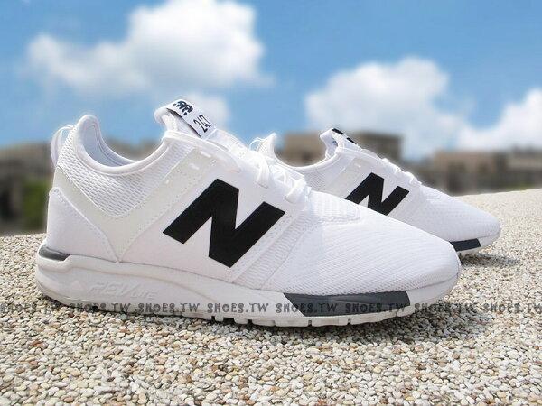Shoestw【MRL247WG】NEWBALANCENB247慢跑鞋網布襪套白黑男女都有情侶鞋