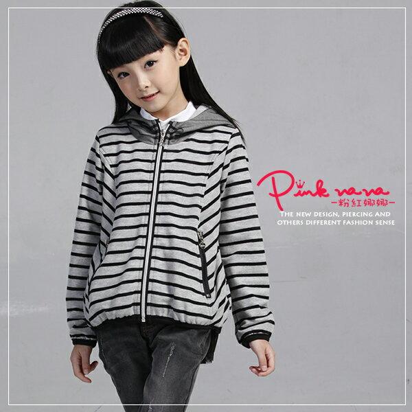 PINKNANA連帽條紋拼接雪紡造型棉質外套28189