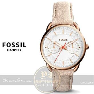 FOSSIL美國品牌Tailor優雅女伶日曆時尚真皮腕錶ES4007公司貨/情人節/禮物