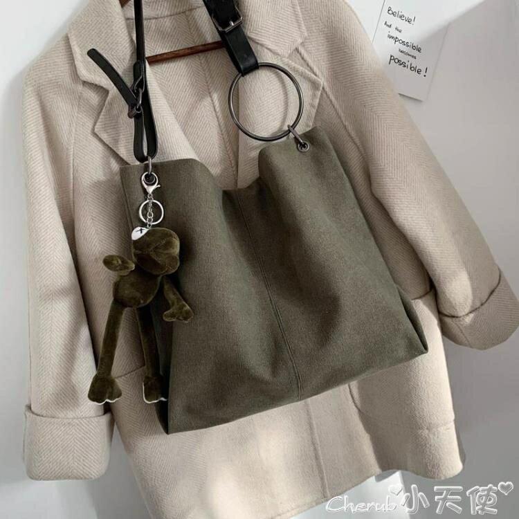 托特包大包包女2020新款潮韓版時尚斜背帆布包百搭大容量側背托特包 時尚學院