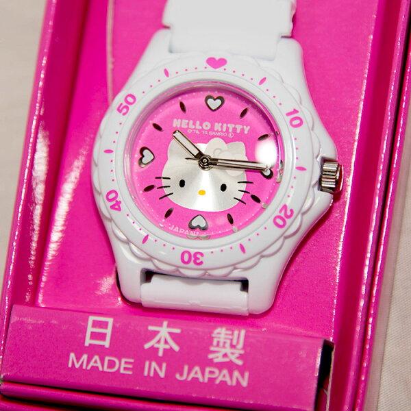 日本製HelloKittyCITIZEN星辰錶粉底氣壓防水指針式手錶日本限定附精美禮盒
