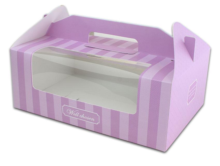 外帶盒、包裝盒、手提盒  6格提盒 MS-6-A(紫色布紋)5 pcs附底托