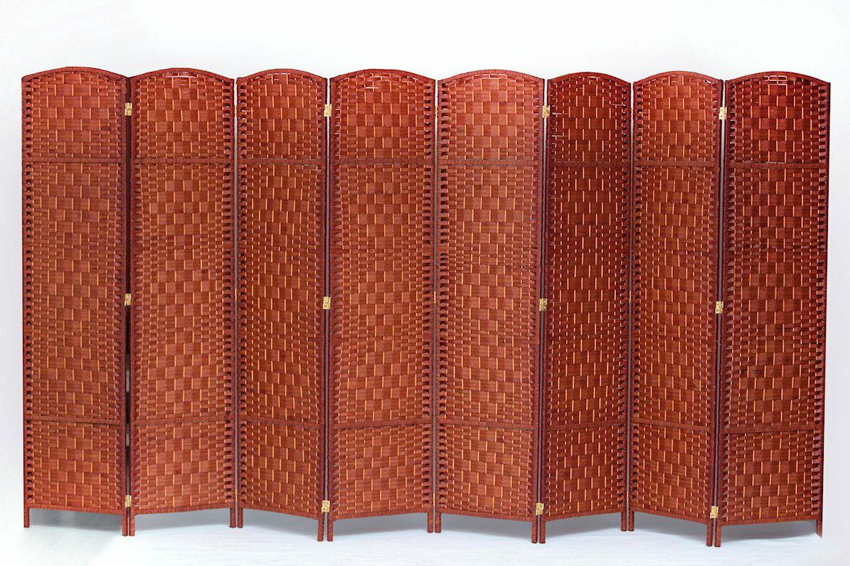 8 Panel Diamond Weave Fiber Room Divider Honey Color By Legacy Decor 0