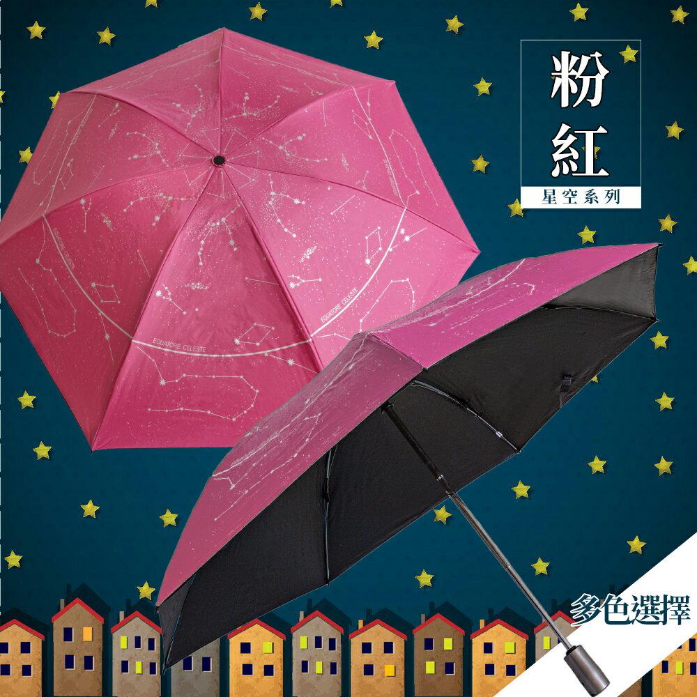 星空圖反向自動折傘-粉紅 久大傘業 反向傘 抗UV 超潑水 (12色可選)
