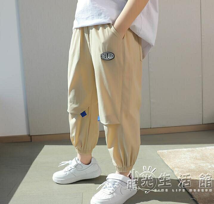 男童白色褲子2021年新款夏季大童薄款速干運動褲兒童冰絲防蚊長褲