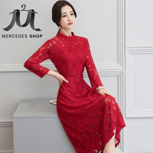 梅西蒂絲Mercedes Shop:《全店75折》小立領修身顯瘦大擺長袖長洋裝(M-3XL,4色)-梅西蒂絲(現貨+預購)
