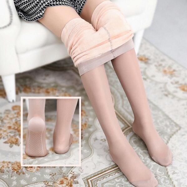 糖衣子輕鬆購【DZ0431】假透肉防鈎絲加厚加絨絲襪打底褲比基尼褲襪瘦腿神器保暖絲襪
