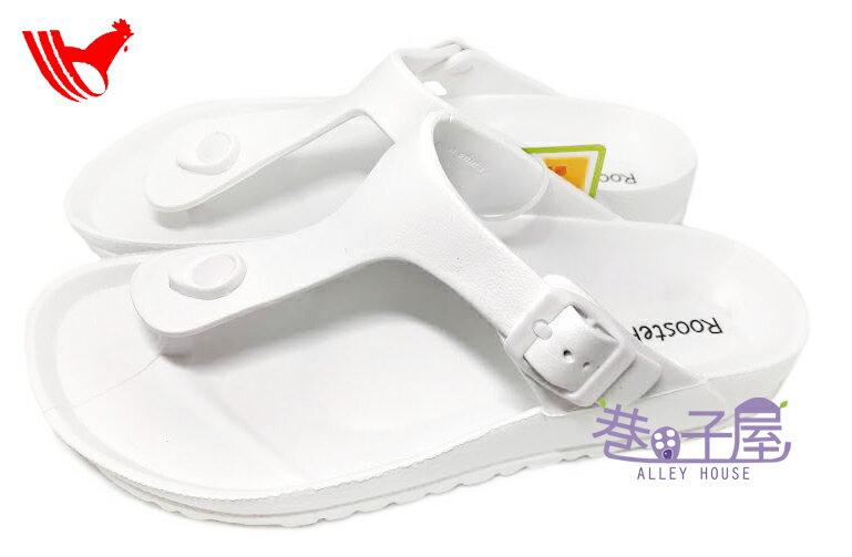 【巷子屋】ROOSTER公雞 男/女款漾彩時尚勃肯超輕T字拖鞋 [1381] 白 超值價$198