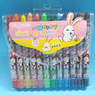 12色旋轉蠟筆 明達MD-228A 短型彩桿小兔旋轉蠟筆(袋入)/一小組12色入{促69}