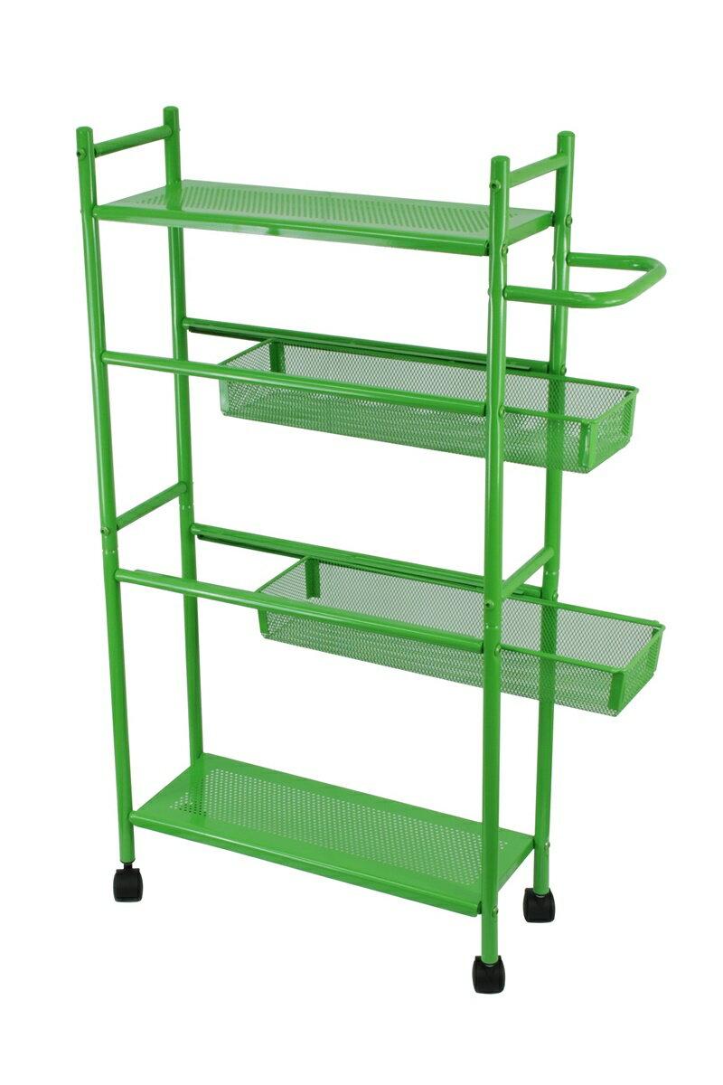 【凱樂絲】居家辦公兩用DIY 四層收納推車(粉綠款-寬16 cm) 角落空間利用, 附輪胎及把手, 容易移動 8